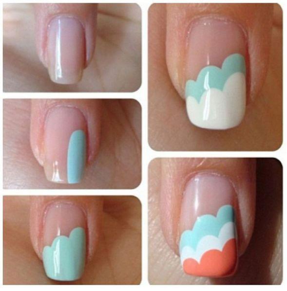 Decorar as unhas em casa em forma de nuvem